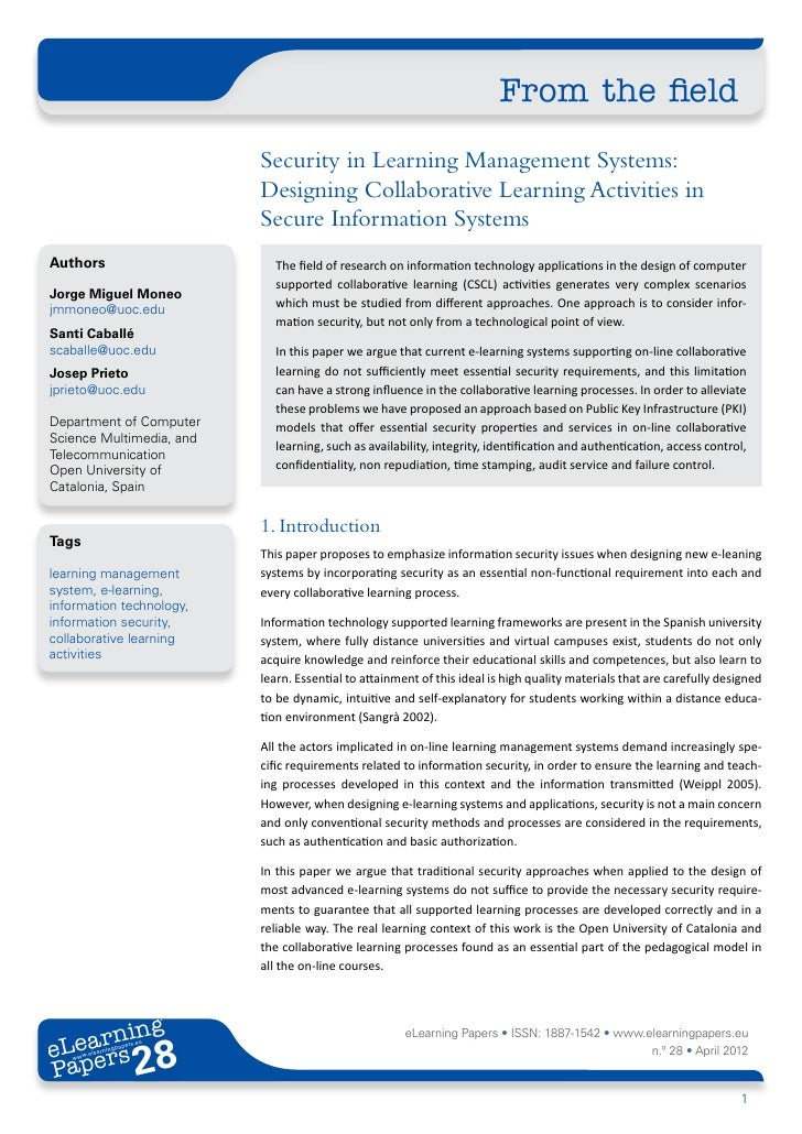 From the field                             Security in Learning Management Systems:                             Designing ...