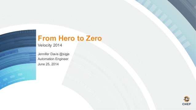From Hero to Zero Velocity 2014 Jennifer Davis @sigje Automation Engineer June 25, 2014