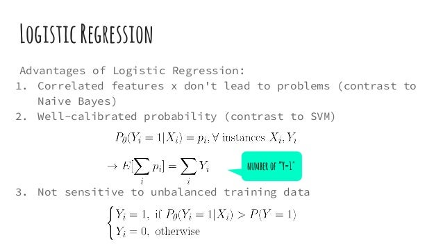 LogisticRegression Advantages of Logistic Regression: 1. Correlated features x don't lead to problems (contrast to Naive B...