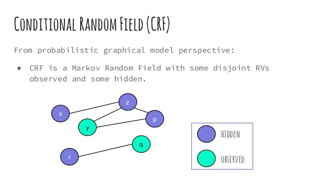 hidden observed From probabilistic graphical model perspective: ● CRF is a Markov Random Field with some disjoint RVs obse...