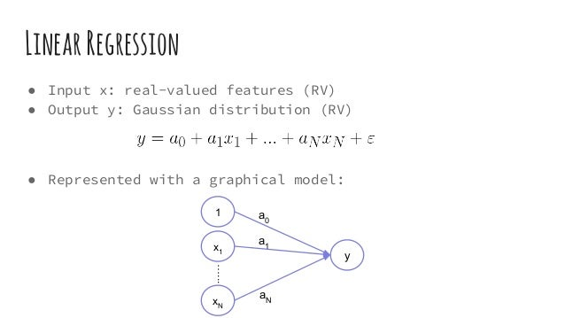 LinearRegression ● Input x: real-valued features (RV) ● Output y: Gaussian distribution (RV) ● Represented with a graphica...