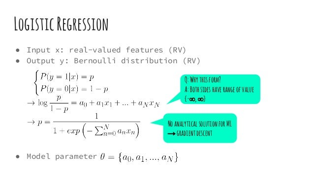 LogisticRegression ● Input x: real-valued features (RV) ● Output y: Bernoulli distribution (RV) ● Model parameter Q:Whythi...