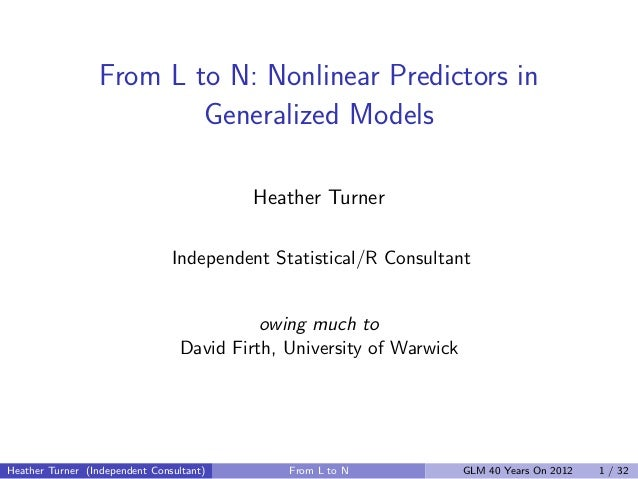 From L to N: Nonlinear Predictors in                          Generalized Models                                          ...