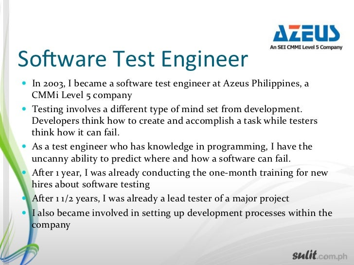 12 lessons learned as a sobware test engineer mechanical test engineer - Aoc Test Engineer Sample Resume