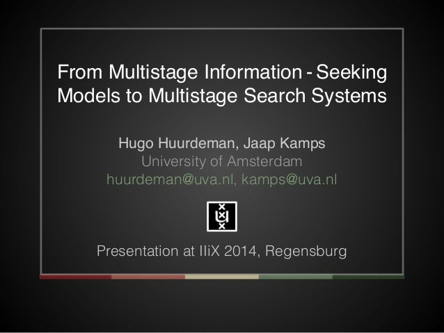 From Multistage Information - Seeking  Models to Multistage Search Systems  Hugo Huurdeman, Jaap Kamps!  University of Ams...