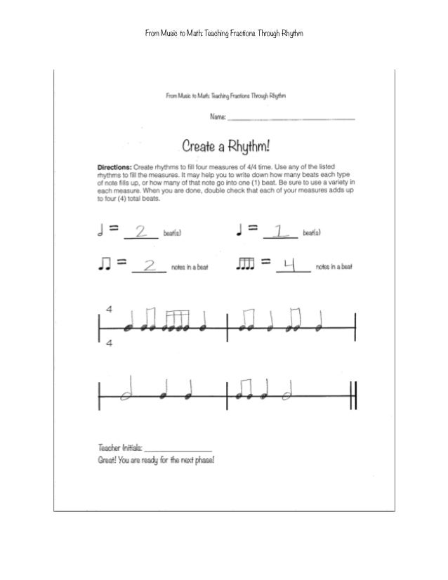 From music to math teaching fractions through rhythm to fourth graders – Rhythm Math Worksheets