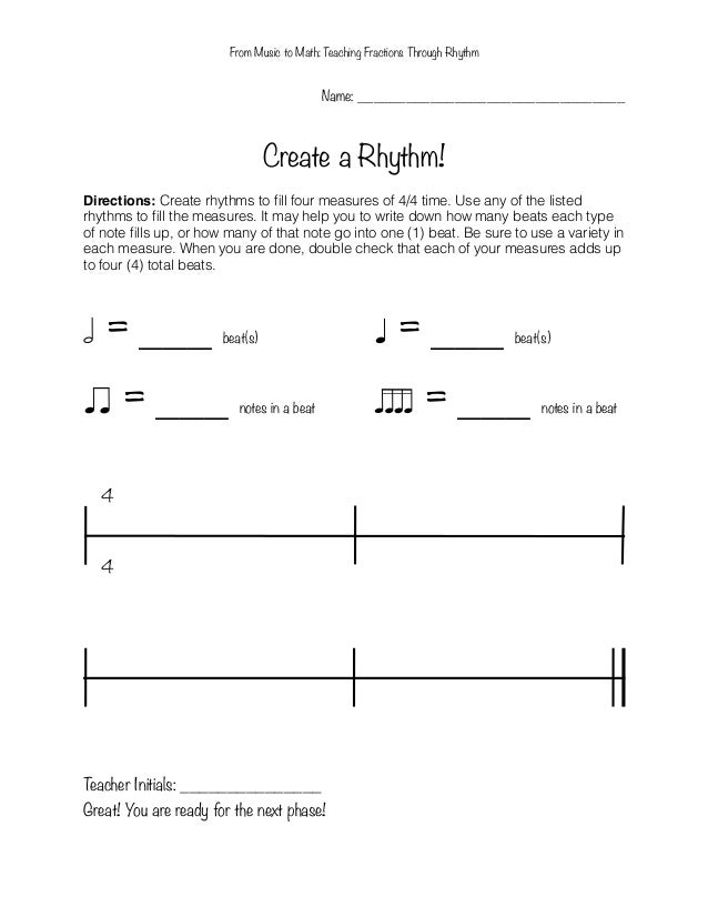 Printables Rhythm Math Worksheets from music to math teaching fractions through rhythm fourth graders 8
