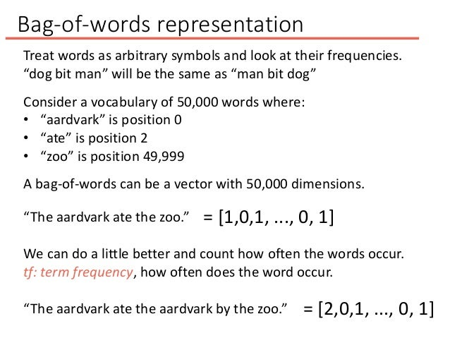 """Bag-of-words representation """"The aardvark ate the zoo."""" = [1,0,1, ..., 0, 1] We can do a little better and count how often..."""