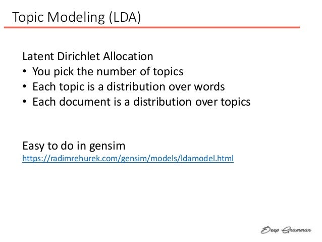 Topic Modeling (LDA) Latent Dirichlet Allocation • You pick the number of topics • Each topic is a distribution over words...