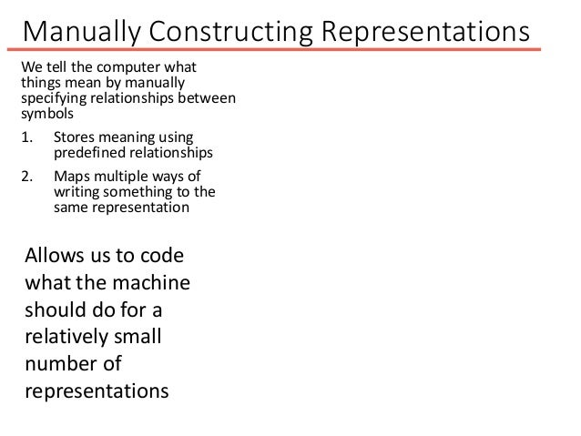Manually Constructing Representations We tell the computer what things mean by manually specifying relationships between s...