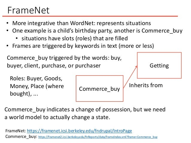 FrameNet • More integrative than WordNet: represents situations • One example is a child's birthday party, another is Comm...