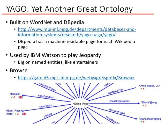 YAGO: Yet Another Great Ontology • Built on WordNet and DBpedia • http://www.mpi-inf.mpg.de/departments/databases-and- inf...