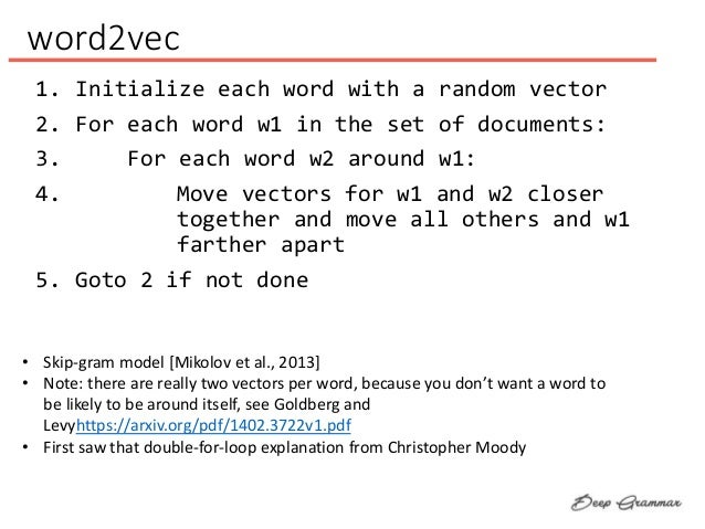 word2vec 1. Initialize each word with a random vector 2. For each word w1 in the set of documents: 3. For each word w2 aro...