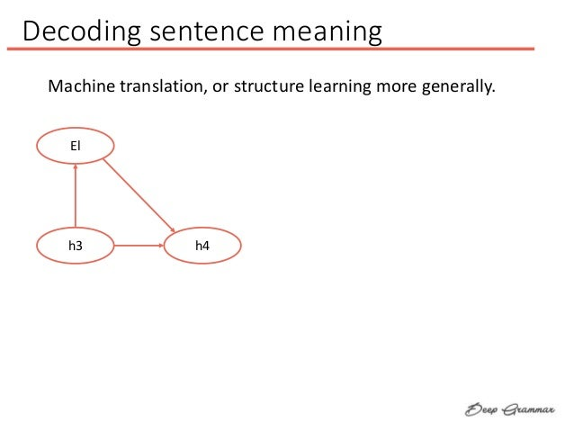 Decoding sentence meaning El h3 h4 Machine translation, or structure learning more generally.
