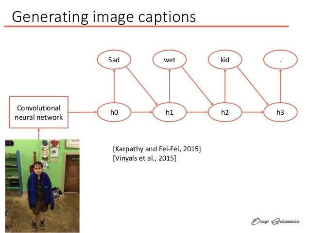 Generating image captions Convolutional neural network Sad h0 wet h1 kid h2 . h3 [Karpathy and Fei-Fei, 2015] [Vinyals et ...
