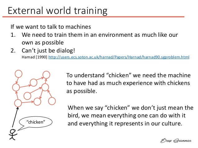 External world training If we want to talk to machines 1. We need to train them in an environment as much like our own as ...
