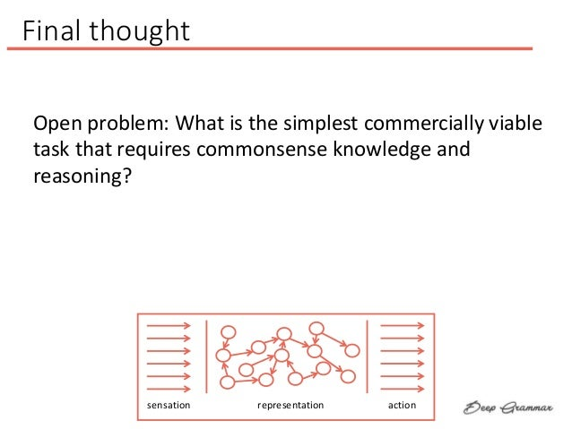 sensation representation action Final thought Open problem: What is the simplest commercially viable task that requires co...