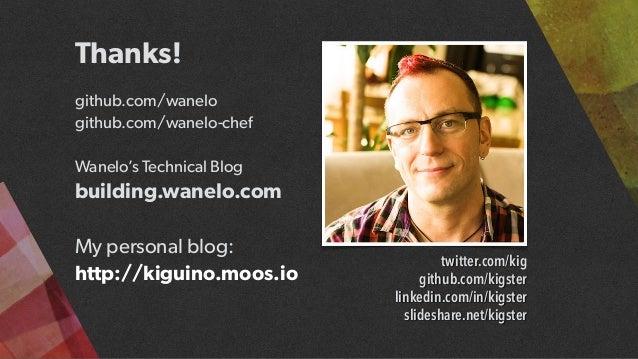 Thanks!  github.com/wanelo github.com/wanelo-chef  Wanelo's Technical Blog building.wanelo.com My personal blog: http://...