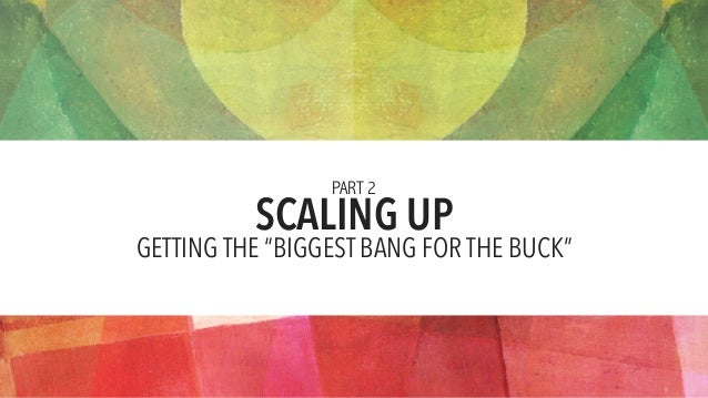 """SCALING UP PART 2 GETTING THE """"BIGGEST BANG FOR THE BUCK"""""""
