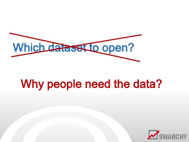 Which dataset to open?<br />Why people need the data?<br />
