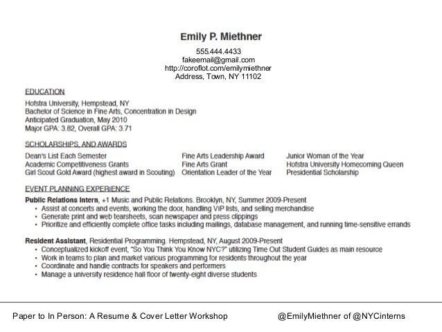 ... Cover Letter Workshop @EmilyMiethner Of @NYCinterns; 13.