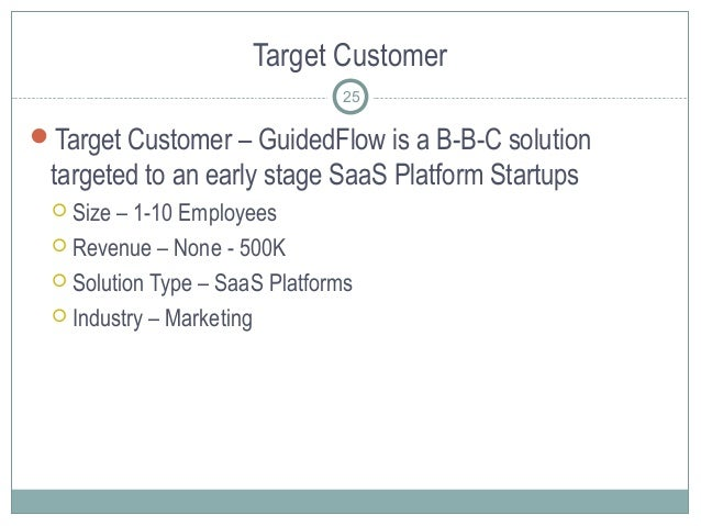 Target Customer Target Customer – GuidedFlow is a B-B-C solution targeted to an early stage SaaS Platform Startups  Size...
