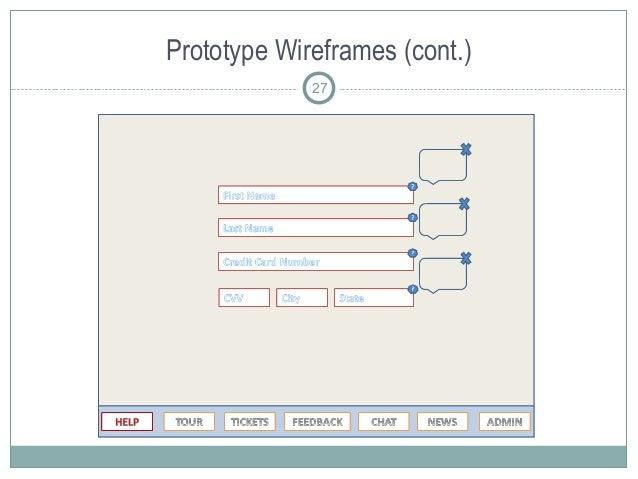 Prototype Wireframes (cont.) 27