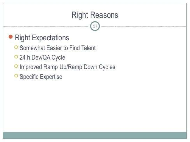 Right Reasons 57 Right Expectations  Somewhat Easier to Find Talent  24 h Dev/QA Cycle  Improved Ramp Up/Ramp Down Cyc...