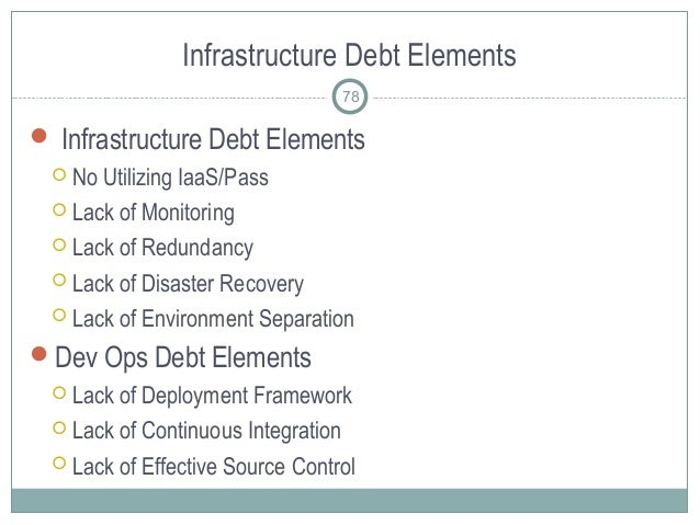 Infrastructure Debt Elements  Infrastructure Debt Elements  No Utilizing IaaS/Pass  Lack of Monitoring  Lack of Redund...