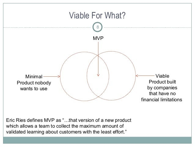"""Viable For What? 8 Eric Ries defines MVP as """"…that version of a new product which allows a team to collect the maximum amo..."""