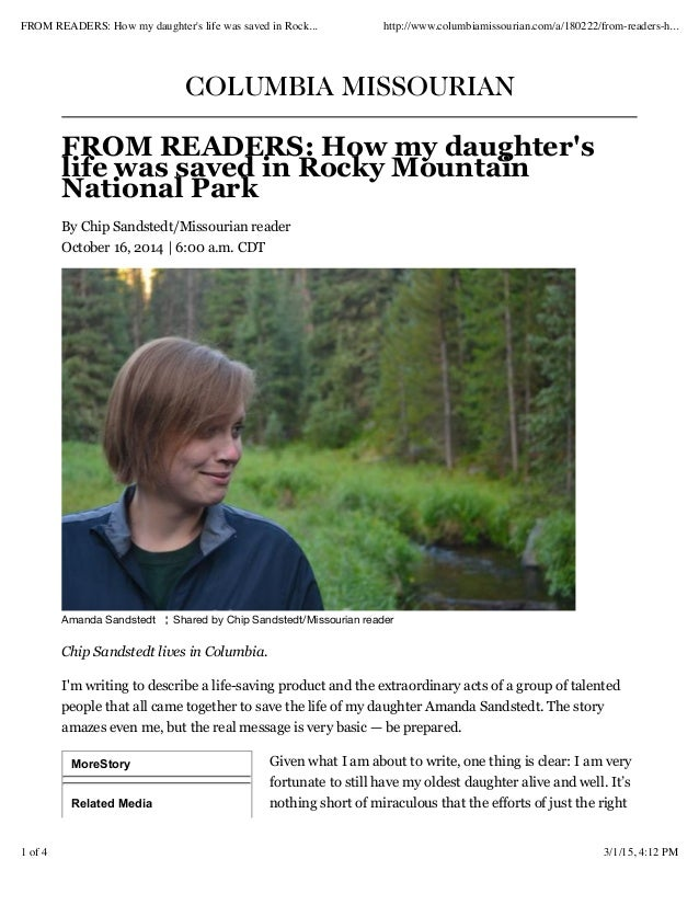 MoreStory Related Media COLUMBIA MISSOURIAN FROM READERS: How my daughter's life was saved in Rocky Mountain National Park...