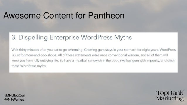 Awesome Content for Pantheon @NiteWrites #MNBlogCon
