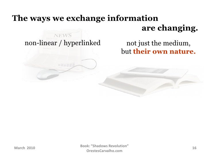 The ways we exchange information  arechanging.<br />non-linear / hyperlinked<br />not just the medium,<br />but t...