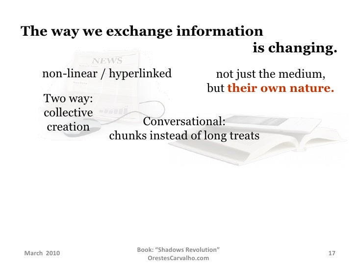 The way we exchange information     is changing.<br />non-linear / hyperlinked<br />not just the medium,<br />but...