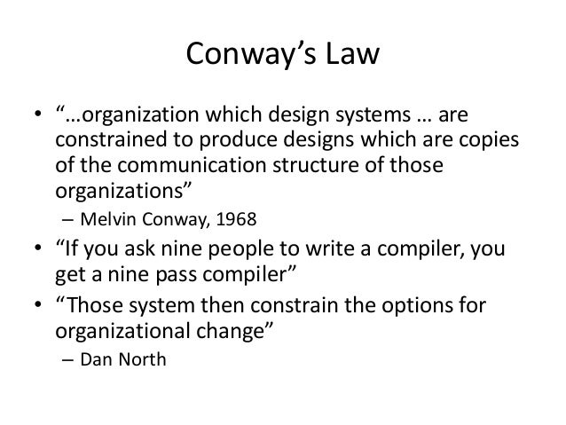 """Conway's Law • """"…organization which design systems … are constrained to produce designs which are copies of the communicat..."""
