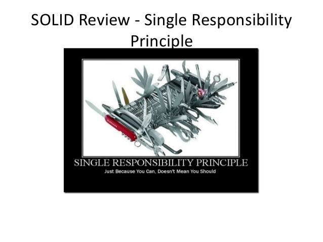SOLID Review - Single Responsibility Principle