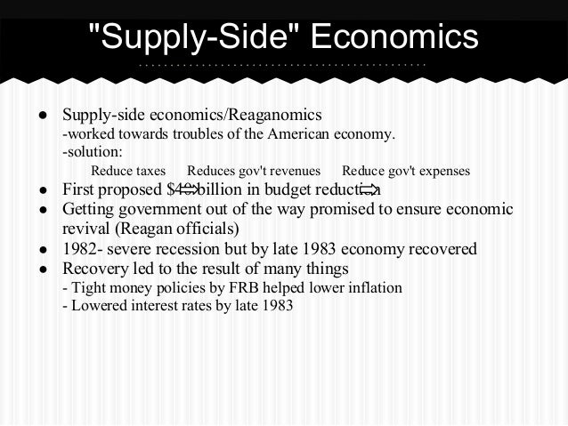 reaganomics essay Reaganomics, put simply, is the economic policies promoted by us president ronald reagan in the 1980s the four pillars of the said policy were to.