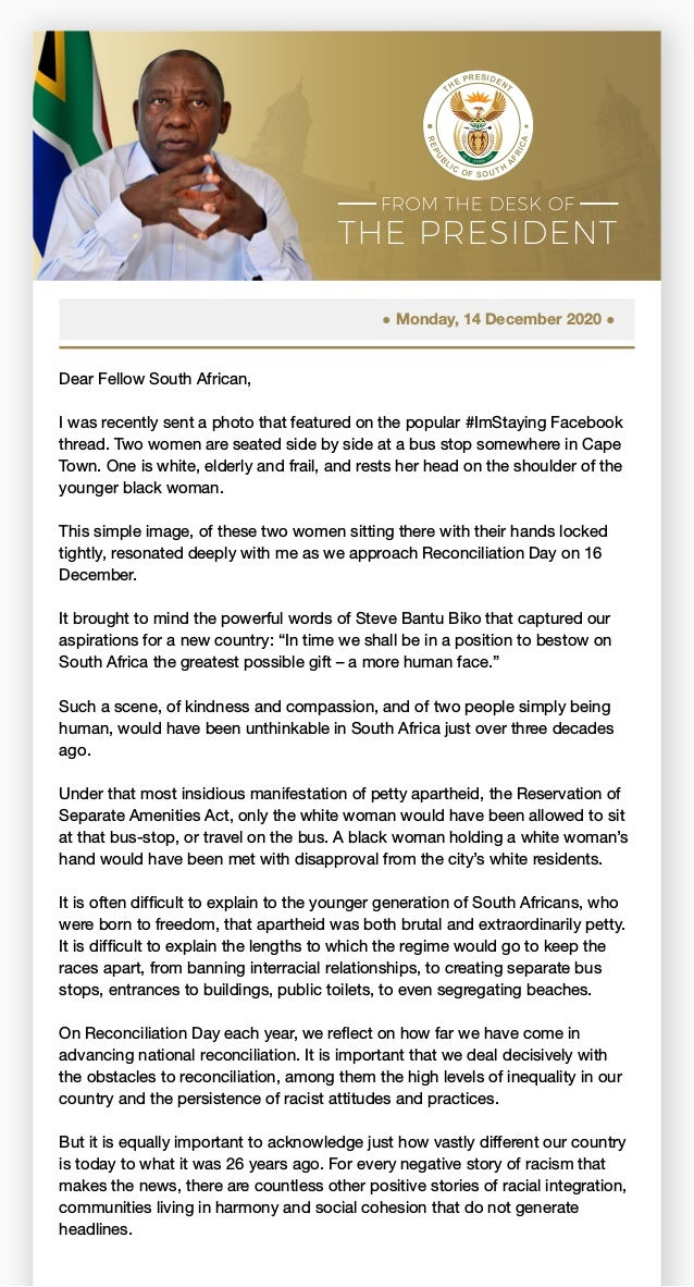 ● Monday, 14 December 2020 ● Dear Fellow South African, I was recently sent a photo that featured on the popular #ImStayin...