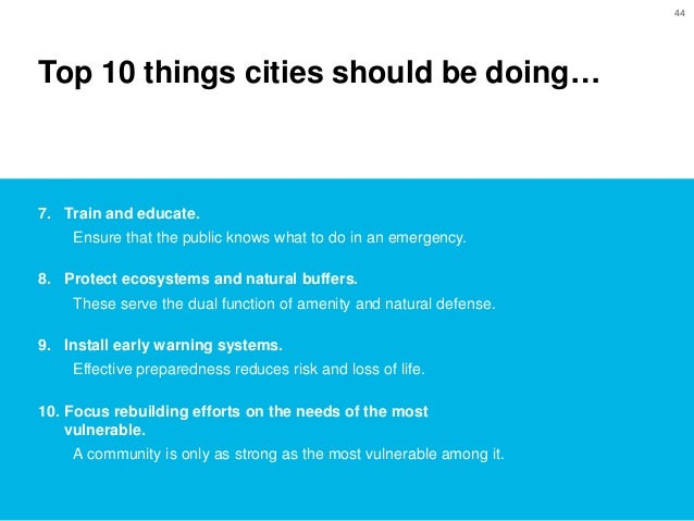 From Vulnerable To Resilient Cities