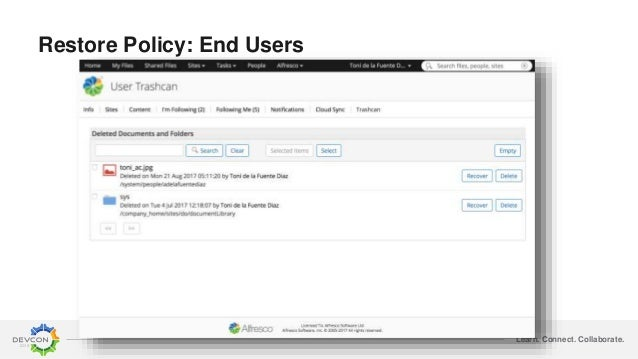 Learn. Connect. Collaborate. Restore Policy: End Users