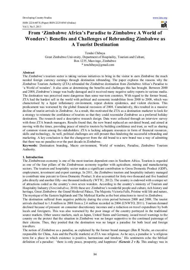 Developing Country Studies www.iiste.orgISSN 2224-607X (Paper) ISSN 2225-0565 (Online)Vol.3, No.5, 201384From 'Zimbabwe Af...