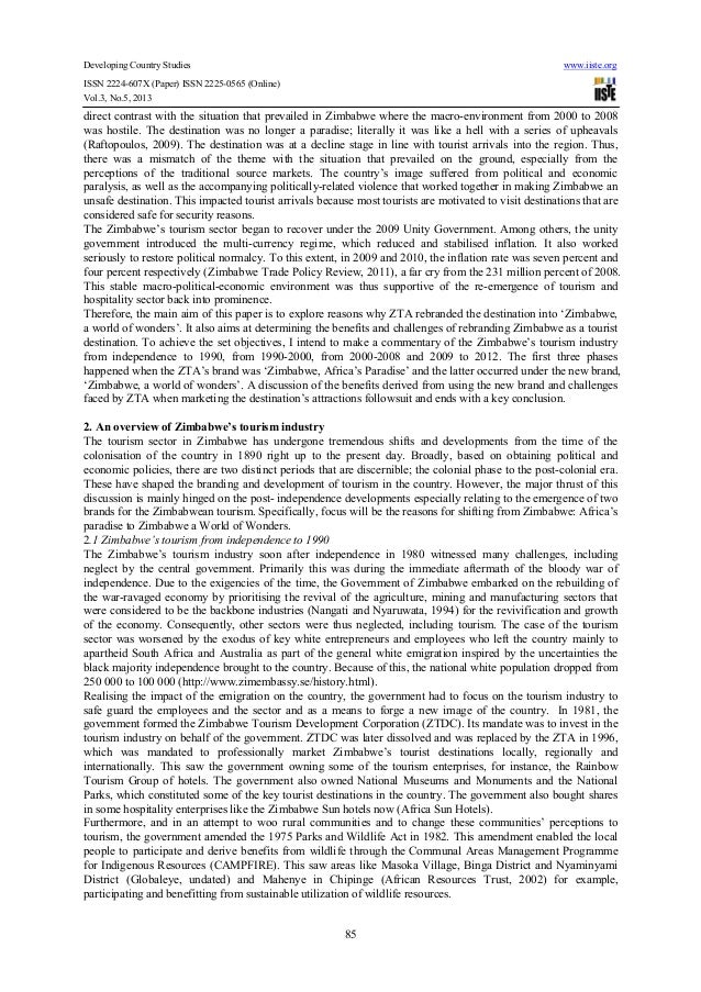 benefits of tourism in zimbabwe pdf