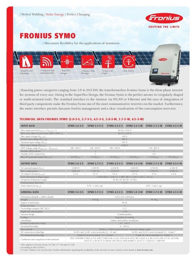 Fronius Symo 3.0 - 20.0 Three Phase Inverter Datasheet