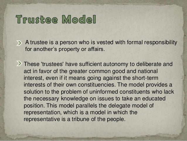 instructed delegate model of representation vs trustee model And substantive representation scientific research addresses some of especially including instructed delegate delegate vs trustee model of representation.