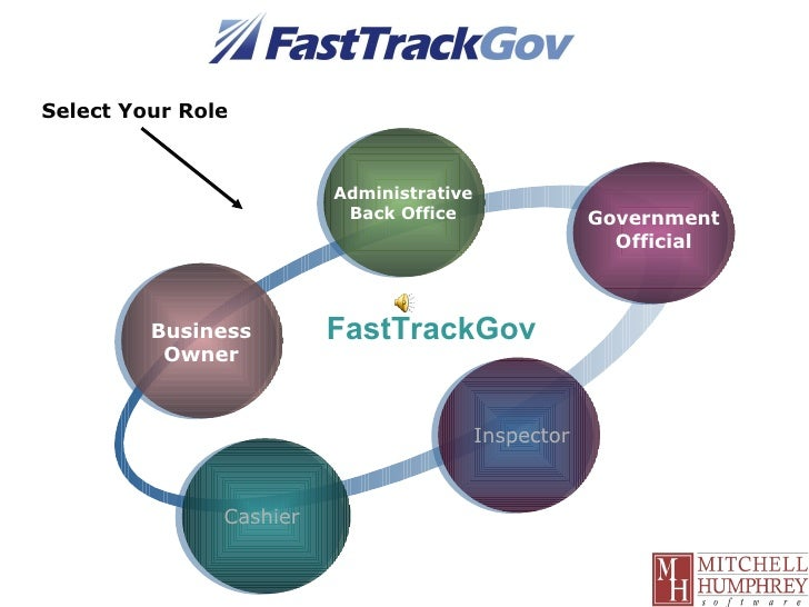 Government Official FastTrackGov Business Owner Administrative Back Office Cashier Select Your Role Inspector