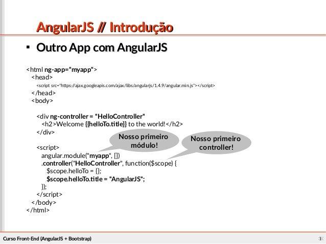 Desenvolvimento Front end (AngularJS e Bootstrap)