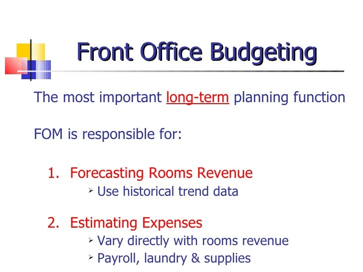 Front office-management-and budgeting ppt
