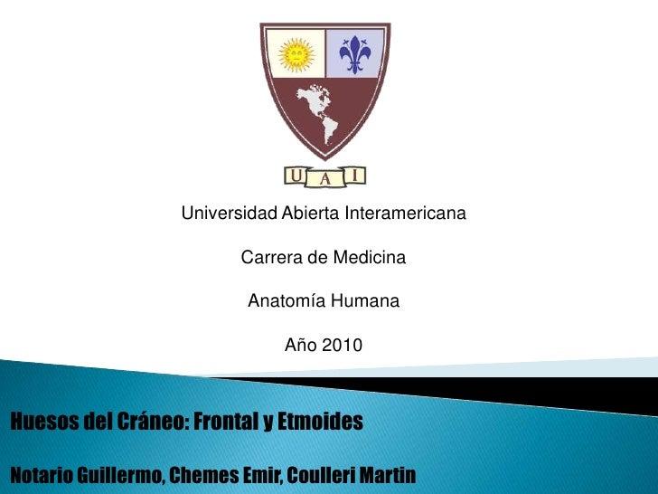 Universidad Abierta Interamericana<br />Carrera de Medicina<br />Anatomía Humana<br />Año 2010<br />Huesos del Cráneo: Fro...