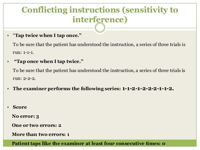 """Go–No Go (inhibitory control)  """"Tap once when I tap once."""" To be sure that the patient has understood the instruction, a ..."""