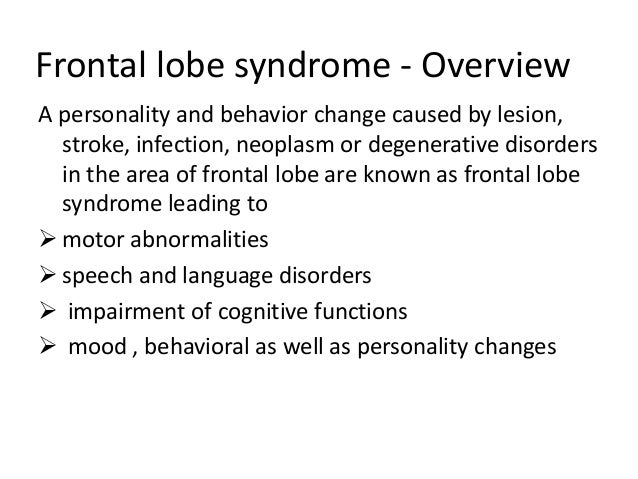 Frontal lobe functions...